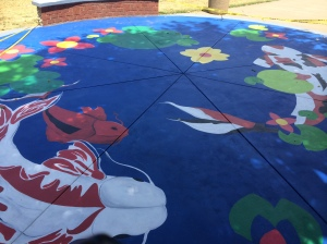 Koi Pond mural painted by Rio Junior class artists summer of 2015